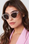 NA-KD Accessories Cat Eye Sunglasses - White,Silver