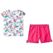 Guess Pink Jungle Print Tee and Short Set 6-9 months