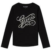 Guess Branded Long Sleeve Tee Black and Gold Foil 8 years