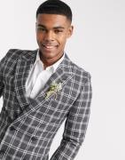 ASOS DESIGN wedding super skinny suit jacket in grey marl check